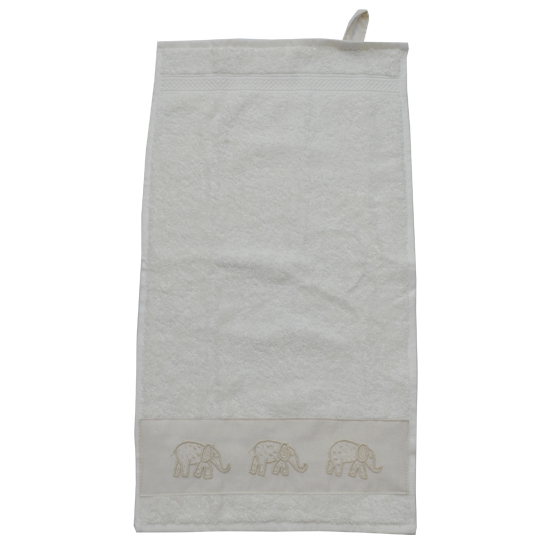 Badkamer: Guest towel (beige) with elephant-embroidered strip