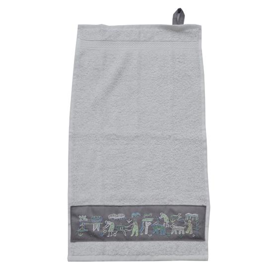 Badkamer: Regular size towel (grey) with village motifs embroidered ...