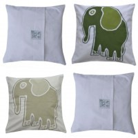 1 tuli cushion beige and green