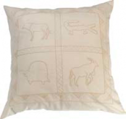 kussensloop creme met wilde dieren, cushion cover cr on cr wild animals